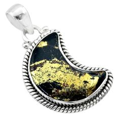 9.13cts moon natural golden pyrite in magnetite 925 silver pendant t45776