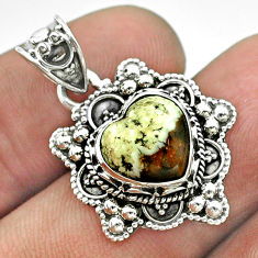 4.82cts moon natural green chrome chalcedony 925 sterling silver pendant t56224
