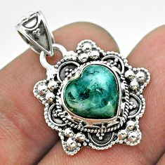 5.10cts moon natural green moss agate 925 sterling silver pendant jewelry t56231