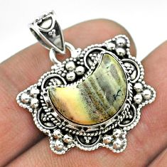 6.03cts moon natural grey sonoran dendritic rhyolite 925 silver pendant t56232