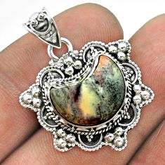 6.04cts moon natural grey sonoran dendritic rhyolite 925 silver pendant t56238