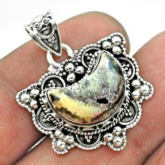 5.79cts moon natural grey sonoran dendritic rhyolite 925 silver pendant t56240