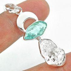12.52cts moon natural herkimer diamond aquamarine raw silver pendant t49441