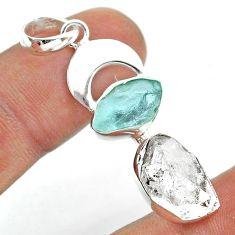 11.07cts moon natural herkimer diamond aquamarine raw silver pendant t49458