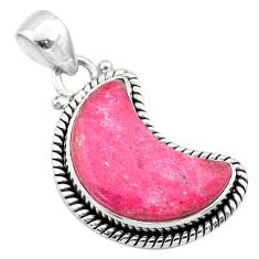 9.86cts moon natural pink thulite 925 silver handmade pendant jewelry t45786