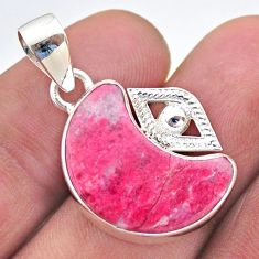 11.07cts moon natural pink thulite 925 silver pendant jewelry t46499