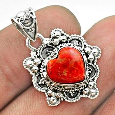 4.67cts moon natural red sponge coral 925 sterling silver pendant jewelry t56237