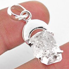 5.82cts moon natural white herkimer diamond 925 sterling silver pendant t49062
