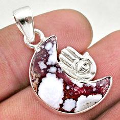 Moon natural wild horse magnesite 925 silver hand of god hamsa pendant t46571
