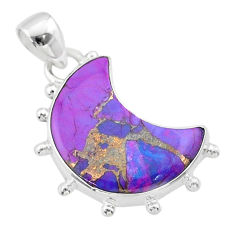8.87cts moon purple copper turquoise 925 sterling silver pendant t45731