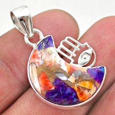 Moon spiny oyster arizona turquoise 925 silver hand of god hamsa pendant t46558