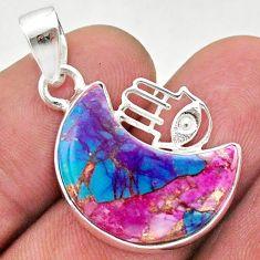 Moon spiny oyster arizona turquoise 925 silver hand of god hamsa pendant t46565