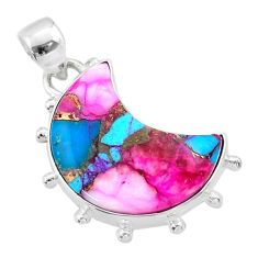12.03cts moon spiny oyster arizona turquoise 925 silver pendant t45738