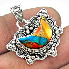 6.03cts moon spiny oyster arizona turquoise 925 sterling silver pendant t56229