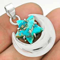 7.04cts moon star blue copper turquoise 925 sterling silver pendant t50485