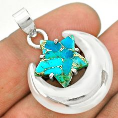 6.83cts moon star blue copper turquoise 925 sterling silver pendant t50487