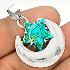 6.83cts moon star blue copper turquoise 925 sterling silver pendant t50488