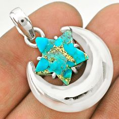 6.80cts moon star blue copper turquoise 925 sterling silver pendant t50489