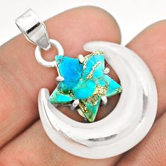 6.56cts moon star blue copper turquoise 925 sterling silver pendant t50491