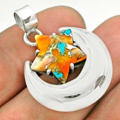6.56cts moon star spiny oyster arizona turquoise 925 silver pendant t50483