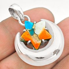 6.83cts moon star spiny oyster arizona turquoise 925 silver pendant t50493