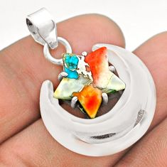7.04cts moon star spiny oyster arizona turquoise 925 silver pendant t50494