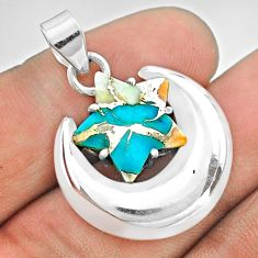 6.49cts moon star spiny oyster arizona turquoise 925 silver pendant t50499