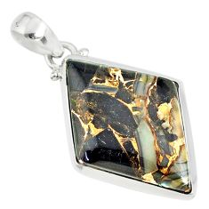 16.28cts mother of pearl golden black obsidian sterling silver pendant r81085