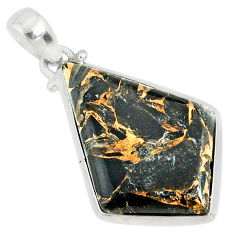 15.68cts mother of pearl golden black obsidian sterling silver pendant r81086