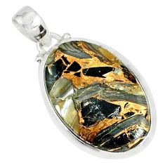 15.31cts mother of pearl golden black obsidian sterling silver pendant r81089