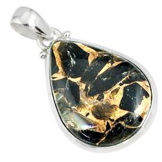 16.28cts mother of pearl golden black obsidian sterling silver pendant r81097