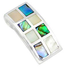 Multi color blister pearl abalone paua seashell 925 silver pendant a85408 c14408