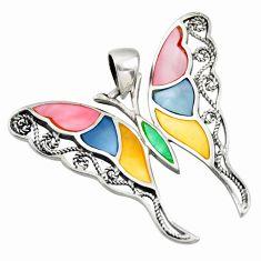 6.48gms multi color blister pearl enamel 925 silver butterfly pendant c26328