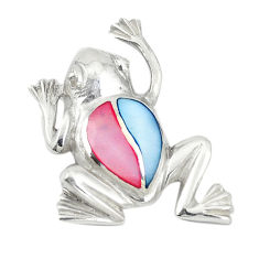 Multi color blister pearl enamel 925 sterling silver frog pendant a74718 c14652