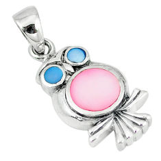 Multi color blister pearl enamel 925 sterling silver owl pendant a55429 c14505