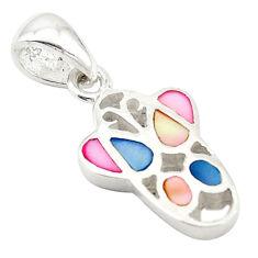 Multi color blister pearl enamel 925 sterling silver pendant a69690 c14634