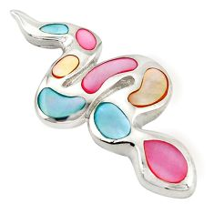 Multi color blister pearl enamel 925 sterling silver pendant a69696 c14569