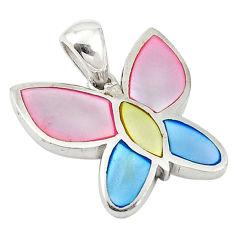 Multi color blister pearl enamel 925 sterling silver pendant a69717 c14571