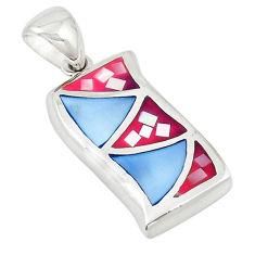 Multi color blister pearl enamel 925 sterling silver pendant a69763 c14443