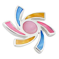 Multi color blister pearl enamel 925 sterling silver pendant a69785 c14693