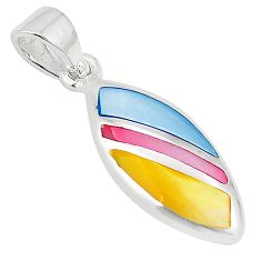 Multi color blister pearl enamel 925 sterling silver pendant a75752 c14680