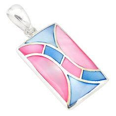 Multi color blister pearl enamel 925 sterling silver pendant a75961 c14617