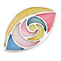 Multi color blister pearl enamel 925 sterling silver pendant a75963 c14619