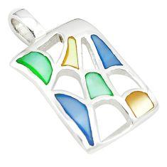 Multi color blister pearl enamel 925 sterling silver pendant a77517 c14490