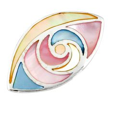 Multi color blister pearl enamel 925 sterling silver pendant a77542 c14613