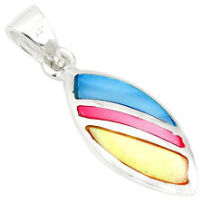 Multi color blister pearl enamel 925 sterling silver pendant a77558 c14671