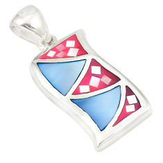 Multi color blister pearl enamel 925 sterling silver pendant a77559 c14460