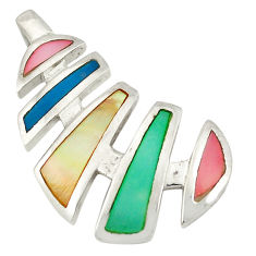 Multi color blister pearl enamel 925 sterling silver pendant a77599 c14699