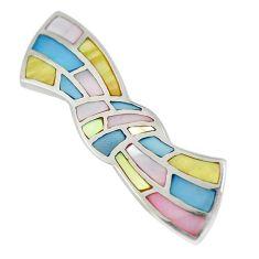 Multi color blister pearl enamel 925 sterling silver pendant a85402 c14794