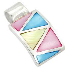 Multi color blister pearl enamel 925 sterling silver pendant a85415 c14559
